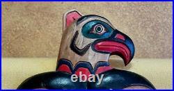 Native American Haida Pacific Northwest Hand Carved Wood Eagle Bear Salmon