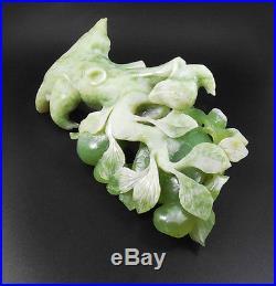 Natural Jade Statue sculpture 3D Hand Carved 1.94KG apple tree#wood base#bs007