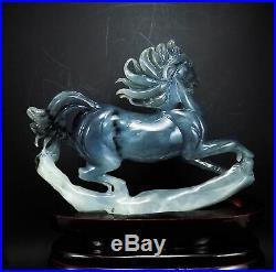 Natural Jade Statue sculpture Hand Carved 0.77KG running horse#wood base#bs087