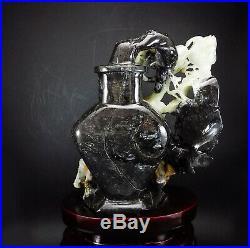 Natural Jade Statue sculpture Hand Carved 1.53KG bird&vase&orchid#wood base#bs56
