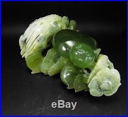Natural Jade Statue sculpture Hand Carved 1.8KG peach&Ruyi#wood base#bs97