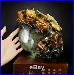 Natural Jade Statue sculpture Hand Carved 2.16KG orchid&bird&moon#wood base#bs41