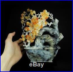 Natural Jade Statue sculpture Hand Carved 2.23KG plum flower#wood base#bs73