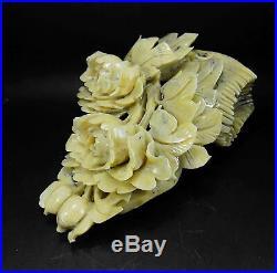 Natural Jade Statue sculpture Hand Carved 2.28KG peony flower#wood base#bs094