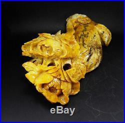 Natural Jade Statue sculpture Hand Carved 2.37KG peony flower#wood base#bs72