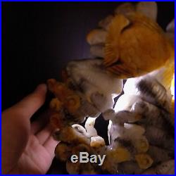 Natural Jade Statue sculpture Hand Carved 3KG angel fish group#wood base#bs065