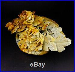 Natural Jade Statue sculpture Hand Carved 4KG basket&peonyflower#wood base#bs68