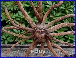Nature Spirit Sun Goddess Tree Root Carving Hand Carved wood Sculpture Bali Art