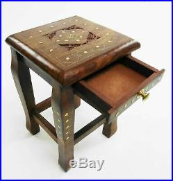 Nest Of 4 Hand Carved Indian Shesham Wood Tables Side Coffee Tables