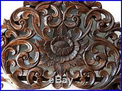 Nice Gable Lotus Kanok Branch Carved Wood Home Wall Panel Decor Art Statue gtahy
