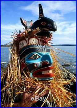 Northwest Coast First Nation native wood Art carved Komokwa and Whale sculpture