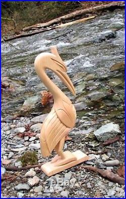 Northwest Coast First Nations Native wood Art carved Heron Sculpture, Superb
