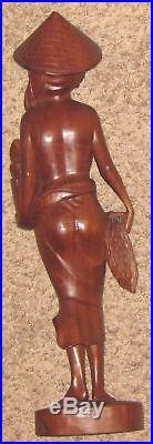 Nude top 21 Wood Carved Woman Art Sculpture on Base