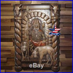 ODIN AND VALKIRIES Wood carved picture painting icon decor sculpture artwork 3D