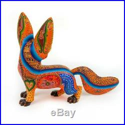 ORANGE FOX Oaxacan Alebrije Wood Carving Mexican Art Animal Sculpture Painting