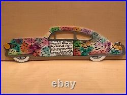 ORIGINAL Howard Finster Signed Folk Art, 1993, Colorful Cadalac Car