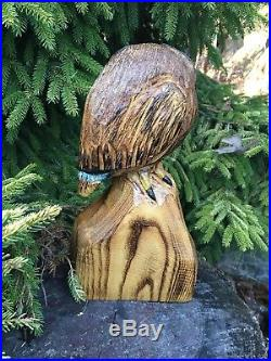 OWL Chainsaw Carving SASSAFRAS WOOD Sculpture Rustic Log Home Garden Decor