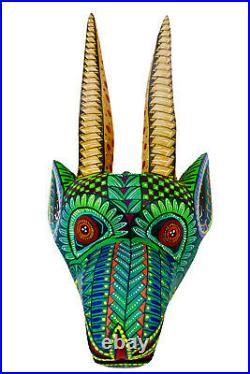 Oaxacan Wood Carving GAZELLE MASK, Alebrije, Mexican Folk Art, Oaxaca Mexico