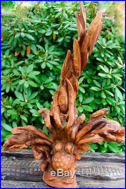 Octopus Sea-life Statue Balinese wood carving Sculpture Bali Wall art 32