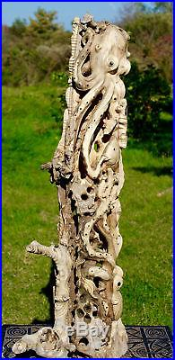 Octopus cephalopod Sealife Statue wood carving hand carved Sculpture Bali art 43
