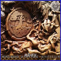 Odin Norse God Wood Carving Art Wall Hanging Decor Viking Walknut Asatru