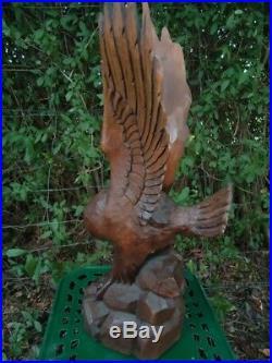 Old Black Forest Carved Wood Figural Statue Eagle-carving Sculpture-antlers
