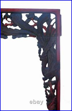 Old Chinese Black Red Carving Wall Decor Panel Frame cs464
