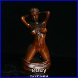 Old Chinese Boxwood Wood Hand Carving Art Nude Beauty Belle Statue Sculpture