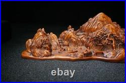Old chinese antique black forest wood carving decor Boxwood wooden statue carved