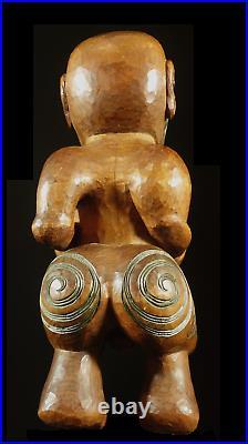Old maori Tiki Carving Tekoteko Maori Sculpture from Rotorua New Zealand