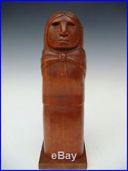 Old vintage Mexican wood carving sculpture figure by ARIAS 11 3/4 tall