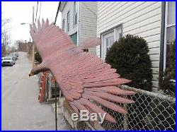 One-of-a-Kind Hand Carved Mahogany Wood Lifelike Eagle in Flight Sculpture