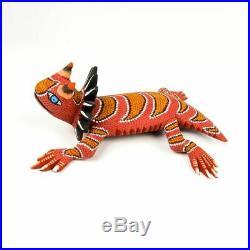 Orange Horned Lizard Oaxacan Alebrije Wood Carving Mexican Folk Art Sculpture