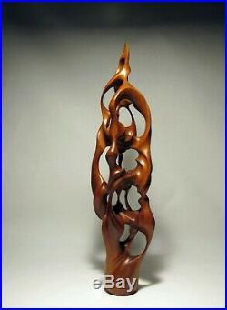Original Abstract Cedar wood modern art sculpture carved by isidro olguin jr