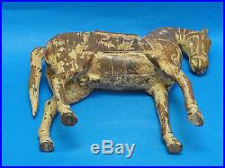 PAIR LARGE ANTIQUE EARLY 20c CHINESE HORSE WOOD CARVING SCULPTURE 16