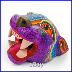 PURPLE JAGUAR HEAD Oaxacan Alebrije Wood Carving Mexican Art Animal Sculpture