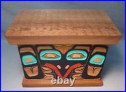 Pacific Northwest Tlingit Carved & Painted Cedar Wood Box by Timber Vavalis