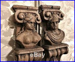 Pair 17 th cariatyd carving corbel bracket Antique french architectural salvage