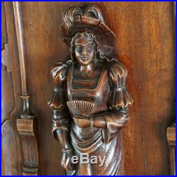 Pair Antique French Carved Wood Panels Wall Door Plaques Troubadour Sculptural
