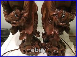 Pair Of Antique Chinese Carved Wood Figures With Carp Table Lamps