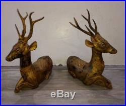 Pair Old or Antique Thai Deer Sculpture Asian Wood Carving