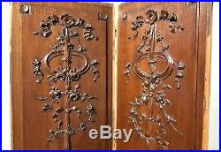 Pair bow flower panel Antique french wood salvaged carving architectural salvage