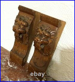 Pair mascaron lion carving corbel bracket Antique french architectural salvage