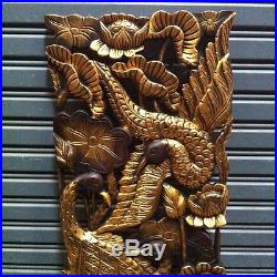Pair of 35 Teak Wood Carving Wall Panel Gold-Colored Peacocks Hand Carved Art