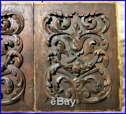 Pair scroll leaf fruit wood carving panel Antique french architectural salvage