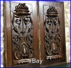 Pair scroll leaf vase wood carving panel Antique french architectural salvage