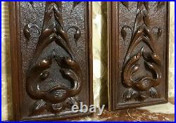 Pair scroll leaves higly wood carving panel Antique french architectural salvage