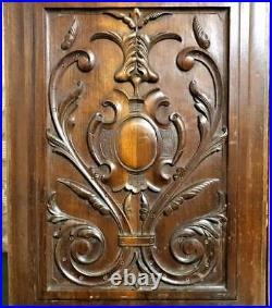Pair scroll leaves walnut carving panel antique french architectural salvage