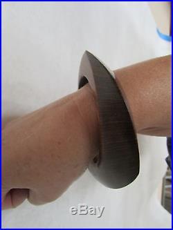 Patricia Von Musulin Hand Carved Sculptural Wood Bangle Bracelet Signed
