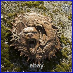 Perfectly Ethnic Wood Carving Celtic Gods Norse Rune Wall Hang HATI & SKOLL